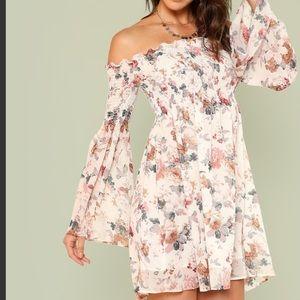 Trumpet Sleeve Off Shoulder Shirred Floral Dress